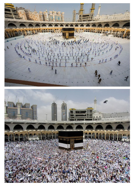 This combo of photos taken Friday, July 31, 2020, on the top and, Thursday, Aug. 8, 2019 shows pilgrims walk around the Kabba at the Grand Mosque during the Hajj pilgrimage in the Muslim holy city of Mecca, Saudi Arabia. The global coronavirus pandemic has cast a shadow over every aspect of this year's pilgrimage, which last year drew 2.5 million Muslims from across the world to Mount Arafat, where the Prophet Muhammad delivered his final sermon nearly 1,400 years ago. Only a very limited number of pilgrims were allowed to take part in the hajj amid numerous restrictions to limit the potential spread of the coronavirus. (Saudi Ministry of Media via AP, top, and AP Photo/Amr Nabil)